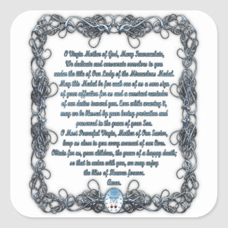 Prayer to the Miraculous Medal Square Sticker