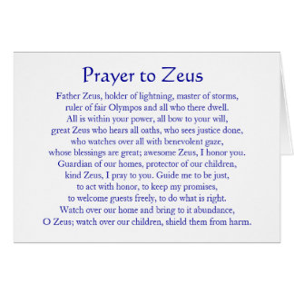 Prayer to Zeus Card