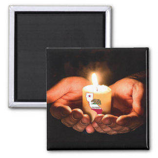 Prayers for California hands candle flag magnet