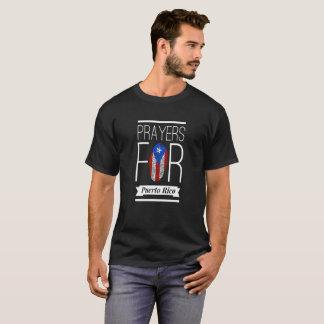 Prayers for Puerto Rico Fingerprint Flag T-Shirt