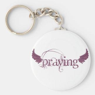 Praying Basic Round Button Keychain
