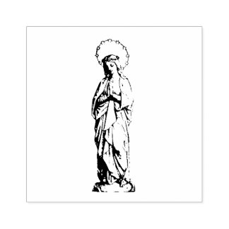 Praying Blessed Virgin Mary as Young Girl Rubber Stamp