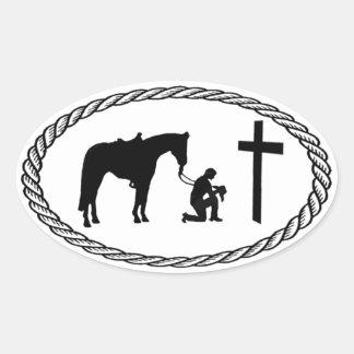Praying Cowboy Cross Euro Style Oval Sticker