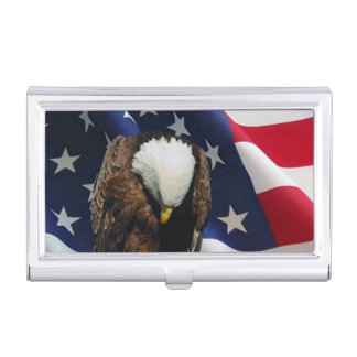 Praying Eagle American Flag patriotic Business Card Cases