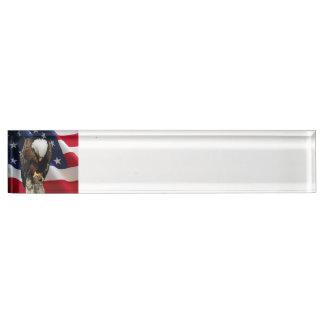 Praying Eagle American Flag sad red white blue Desk Name Plates