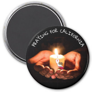 Praying for California hands candle flag magnet