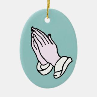Praying Hands Ceramic Ornament