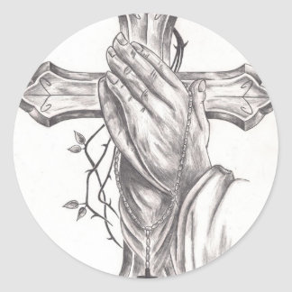 Praying Hands & Cross Classic Round Sticker