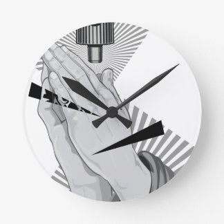 Praying Hands Graffiti Round Clock