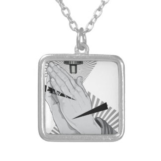 Praying Hands Graffiti Silver Plated Necklace