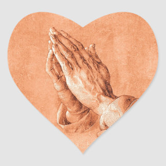 Praying Hands Heart Sticker
