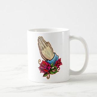 Praying Hands Roses Design Coffee Mug