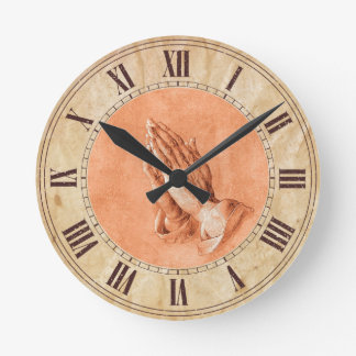 Praying Hands Round Clock