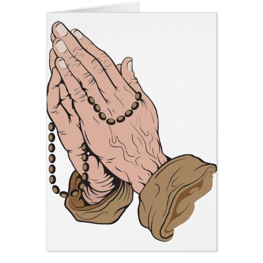 Praying Hands with Beads Card