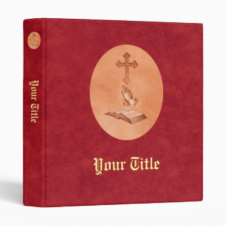 Praying Hands with Cross and Bible Vinyl Binder