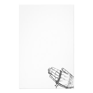 Praying Hands with Rosary Beads Stationery