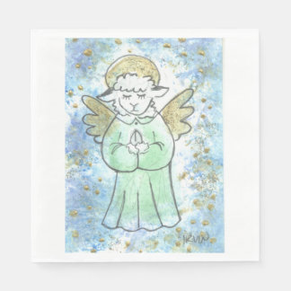 Praying Lamb Angel Paper Napkin