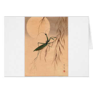 Praying Mantis and the Moon Japanese Art c. 1800s Card