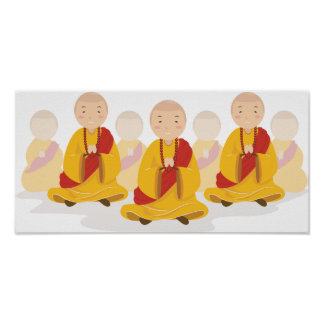 Praying Monks Poster