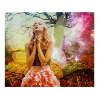 Praying Mystical Spiritual Girl Poster