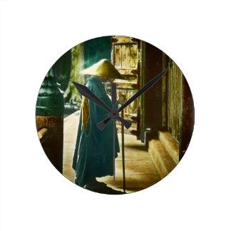 Praying Priest in Old Japan Vintage Magic Lantern Clock
