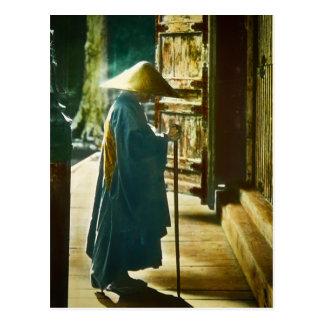 Praying Priest in Old Japan Vintage Magic Lantern Postcard
