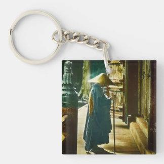 Praying Priest in Old Japan Vintage Magic Lantern Single-Sided Square Acrylic Keychain