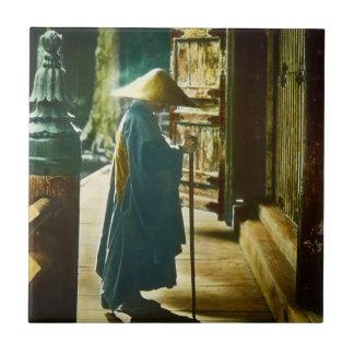 Praying Priest in Old Japan Vintage Magic Lantern Tile