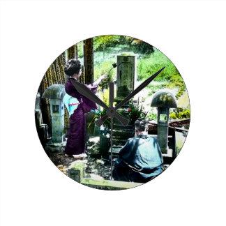 Praying to the Ancestors in Old Japan Vintage Clock