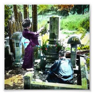 Praying to the Ancestors in Old Japan Vintage Photo Print