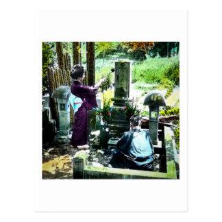 Praying to the Ancestors in Old Japan Vintage Postcard