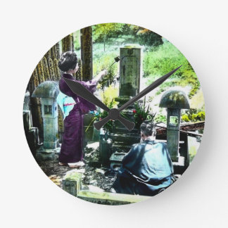 Praying to the Ancestors in Old Japan Vintage Round Clock