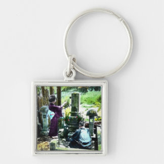 Praying to the Ancestors in Old Japan Vintage Silver-Colored Square Keychain