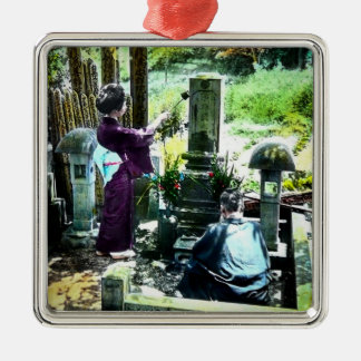 Praying to the Ancestors in Old Japan Vintage Silver-Colored Square Ornament