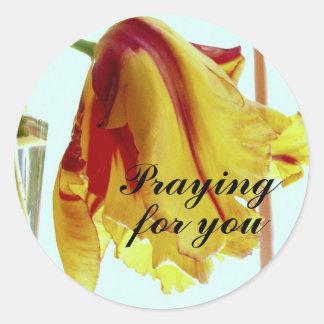Praying Tulip Classic Round Sticker