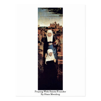 Praying With Saints Founder By Hans Memling Postcard