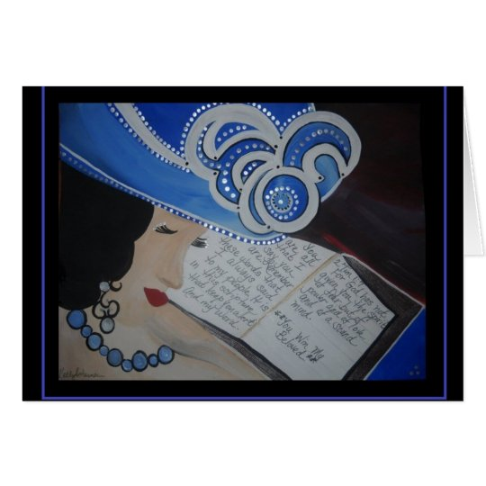 Praying Woman in a Blue Hat Meditation Card