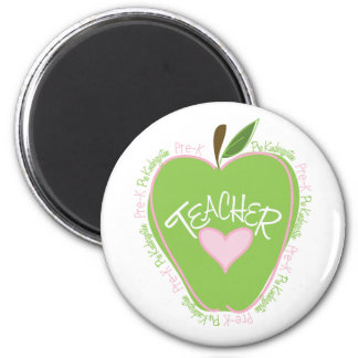 Pre K Teacher Pink and Green Apple Magnet
