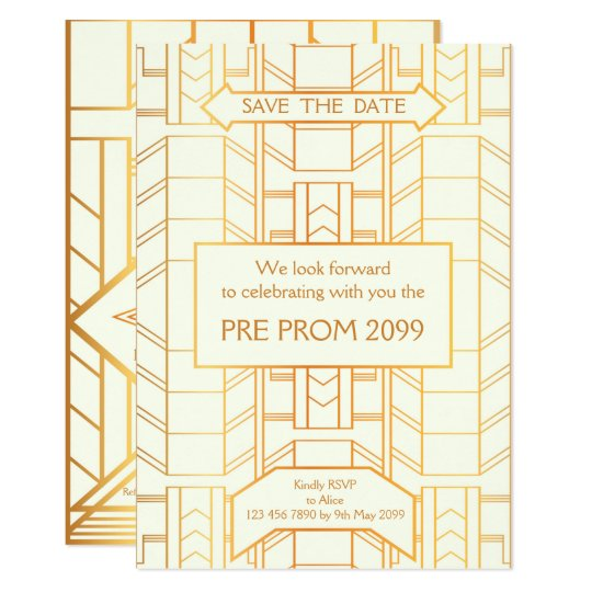 Pre PromJunior, Great Gatsby, Gold, ivory Card