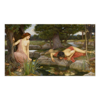 Pre-Raphaelite Painting Echo and Narcissus Poster