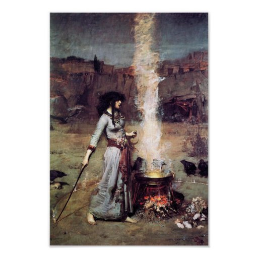 Pre-Raphaelite Waterhouse Magic Circle Poster