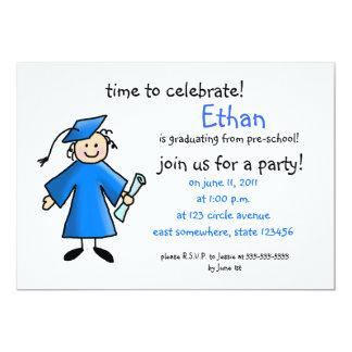 Pre-school graduation invite--boy, blue card