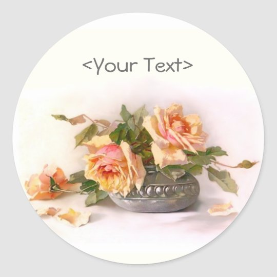 Preach Rose Still Life Classic Round Sticker