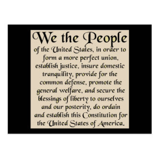 Preamble to The Constitution of the United States Postcard