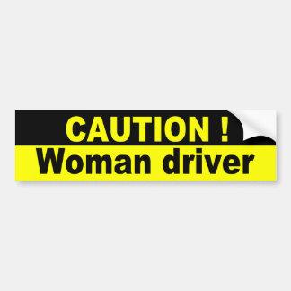 Précaution, conducteur de femme autocollant de voiture