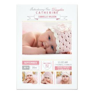 Precious Arrival Pink Photo Birth Announcement