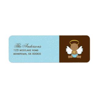 Precious Baby Boy Christening Custom Return Address Label
