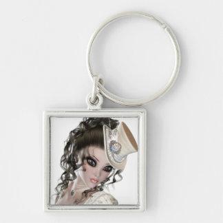 Precious Brunette Woman Silver-Colored Square Keychain