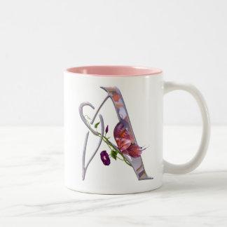 Precious Butterfly Initial A Two-Tone Coffee Mug