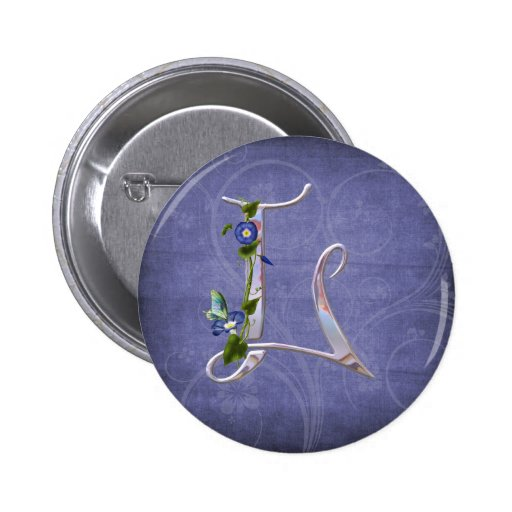 Precious Butterfly Initial L 2 Inch Round Button
